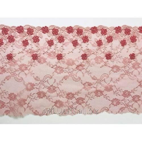 Кружево вышивка на сетке розовое 101-18