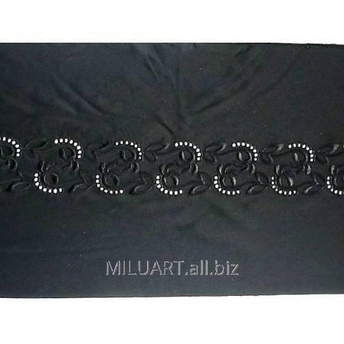 Кружево вышивка на сетке черное 902-25