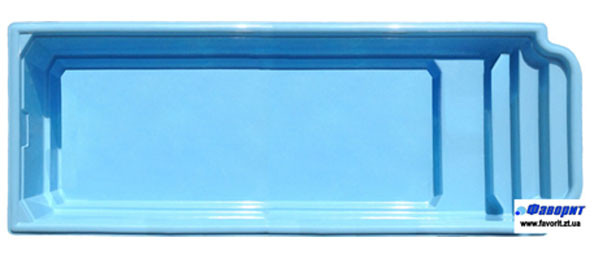 Стеклопластиковый стекловолоконный бассейн Атлантида-10 10,3 х 2,9 х 1,5м В голубом цвете.