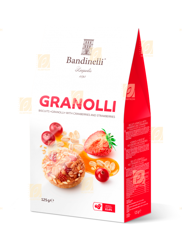 Buy Granolli Cookies with cranberries and strawberries 0.125 kg