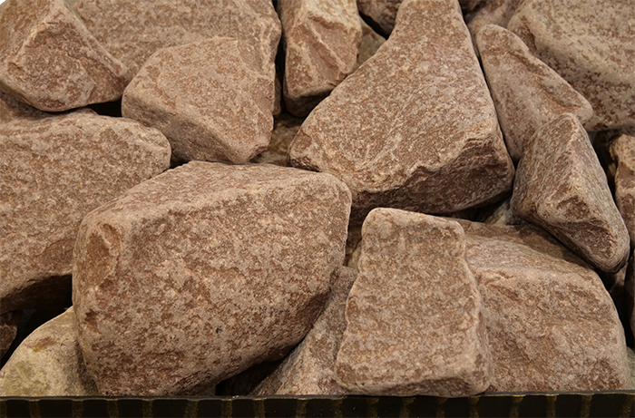Камни для бани малиновый кварцит обвалованный 20 кг