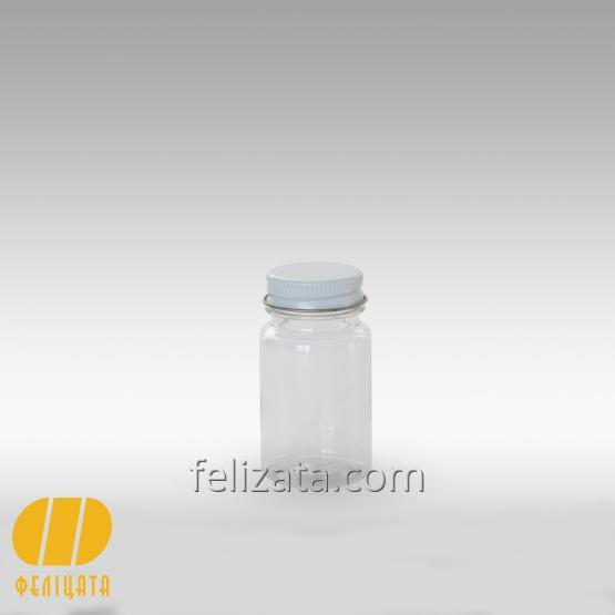 ПЭТ бутылка прозрачная 60 мл с алюминиевой крышкой