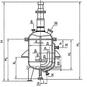 Аппарат с эллиптическим днищем и съемной эллиптической крышкой V=0,025-0,63 м3   c перемешивающим устройством