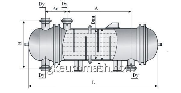 Теплообменный аппарат с неподвижными трубными решетками и температурным компенсатором на кожухе диаметром 159, 273, 325 и 426 мм повышенной тепловой эффективности