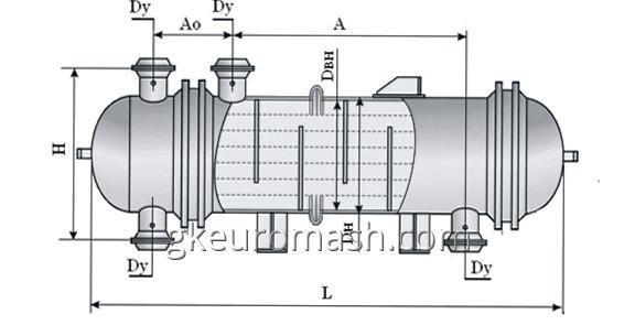Теплообменный аппарат с неподвижными трубными решетками и температурным компенсатором на кожухе диаметром 600, 800, 1000, 1200 и 1400 мм повышенной тепловой эффективности