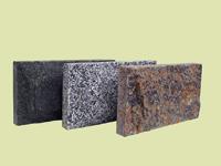Плитка фактуры Скала габбро (цвет черный), покостовка (серая), Емельяновка (цвет красный)