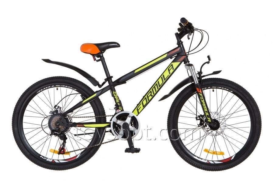 """Велосипед 24"""" Formula Dakar AM 14G DD рама-13"""" St черно-желтый, м, с крылом Pl 2018"""