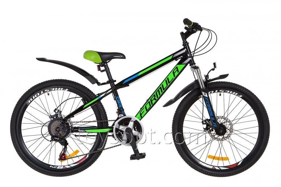 """Велосипед 24"""" Formula Dakar AM 14G DD рама-13"""" St черно-зелен. с крылом Pl 2018"""