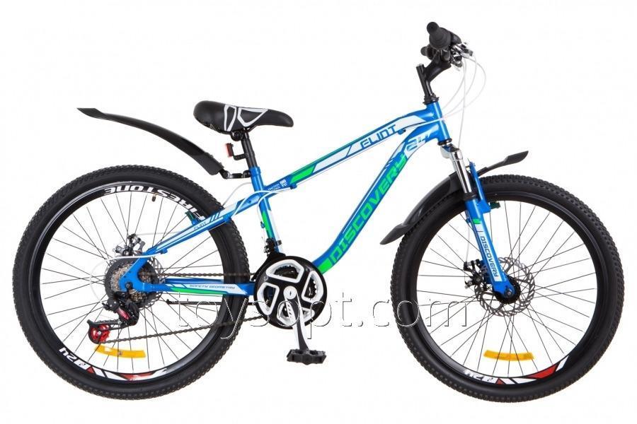 """Велосипед 24"""" Discovery Flint AM 14G DD рама-13"""" St сине-бело-зеленый, м, с крылом Pl 2018"""