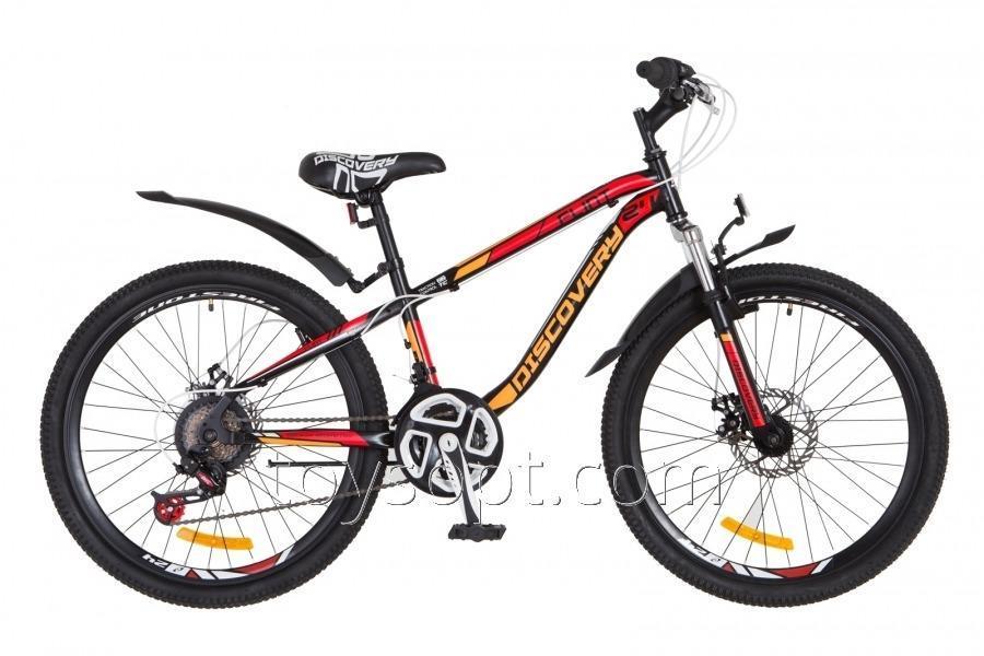 """Велосипед 24"""" Discovery Flint AM 14G DD рама-13"""" St черно-оранжево-красный, м, с крылом"""
