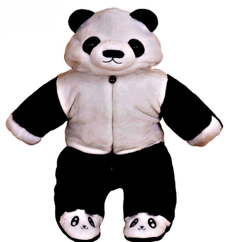 Бархатный теплый, зимний комбинезон-(панда) для мальчиков и девочек с коттоновой подкладкой.