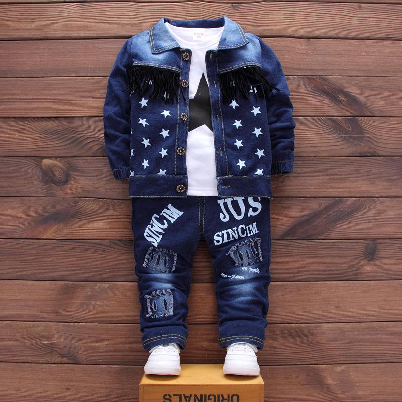 Джинсовый спортивный костюм для мальчиков-(Звезда) (3 в 1)