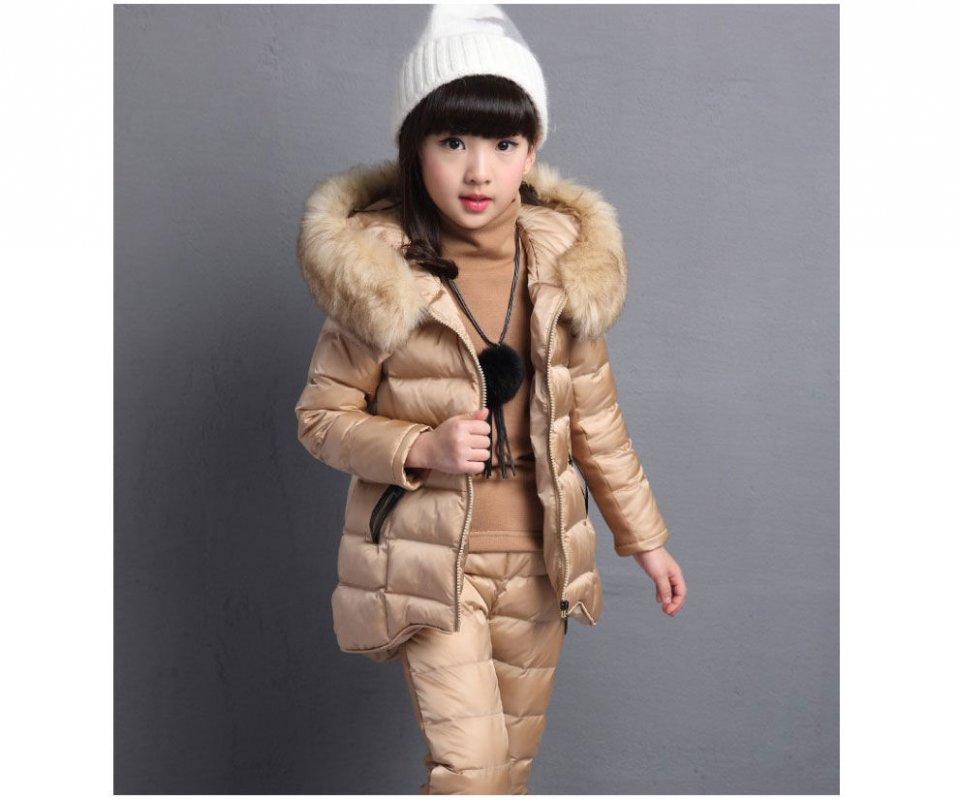 Зимняя детская одежда с длинными рукавами для девочек с капюшоном.