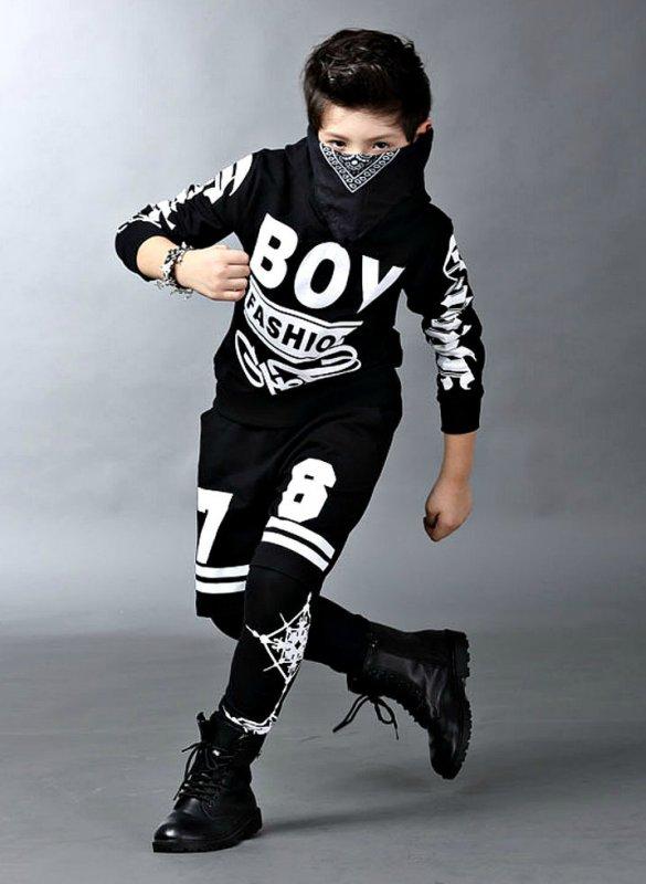 Хлопковые толстовки-(хип-хоп) с капюшоном и принтом для мальчиков