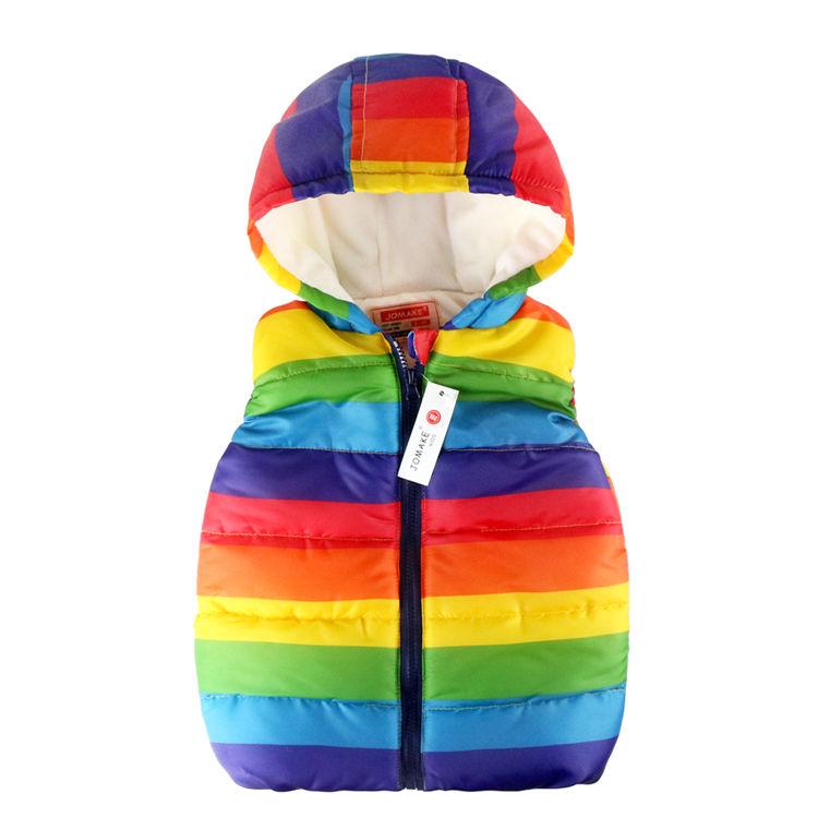 Радужный жилет для девочки с капюшоном