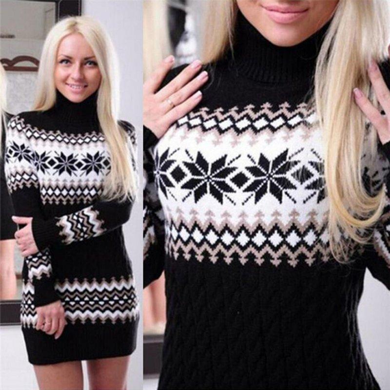 купить сейчас вязаное свитер платье пуловер снежинка 740 грн