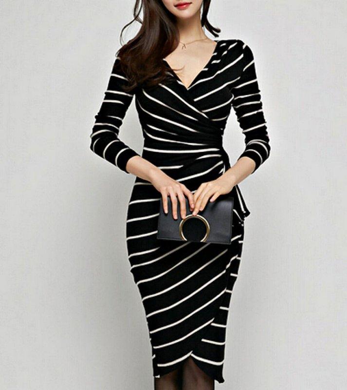 Женское платье, повседневное с длинным рукавом v-образным вырезом для вечеринок и работы.