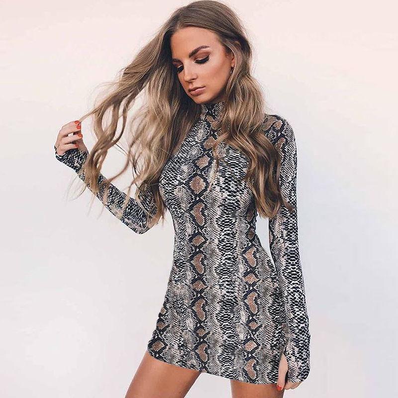 Модная криптографических туника зимнее платье с длинным рукавом (змеинная кожа)