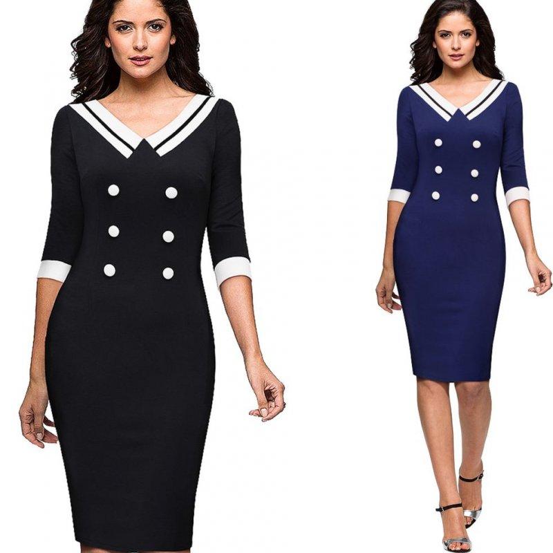 Облегающее платье в деловом стиле-(Контрастность)сv-образным вырезом