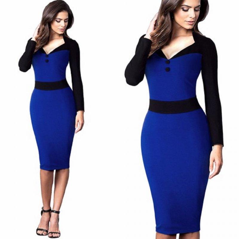 Облегающее платье в деловом стиле-сv-образным вырезом