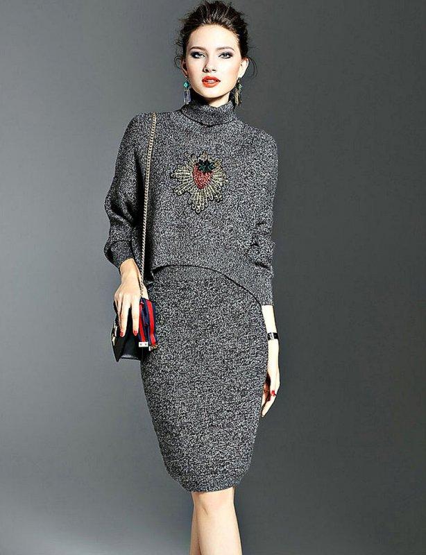 Ретро тонкий женские зимний комплект-(свитер+юбка) с высоким воротом
