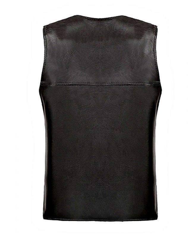 Кожаные жилет с меховой подкладкой для мужчин.