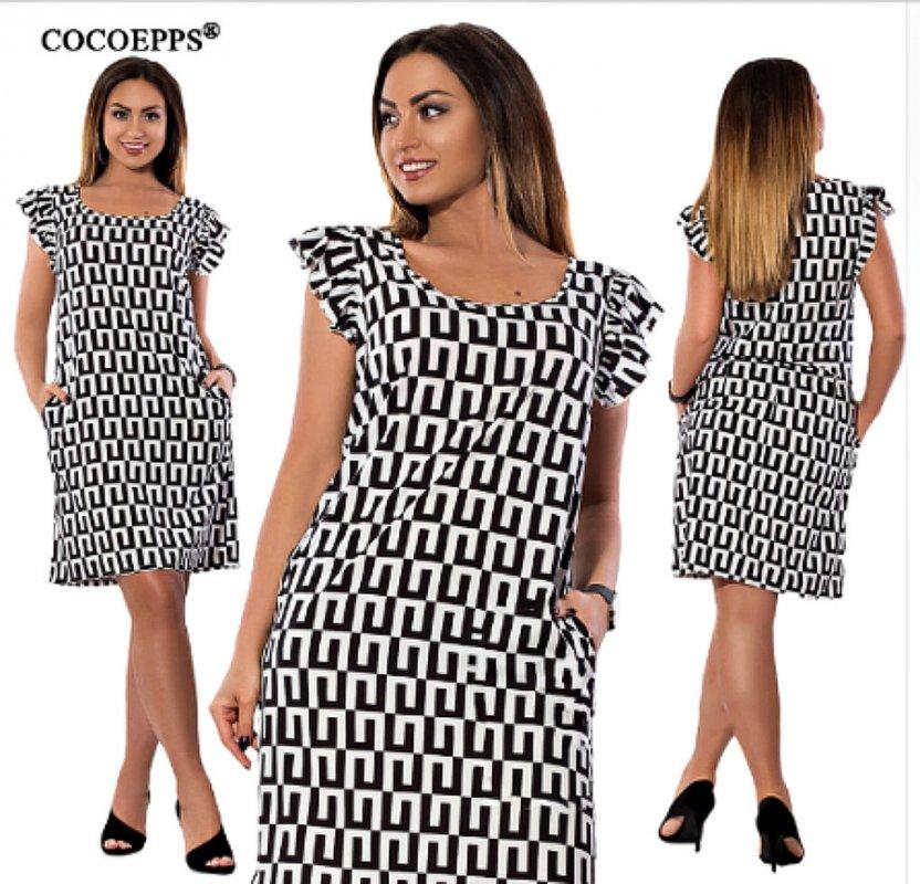 Модное платье с шифоновыми оборкамибольших размеров.