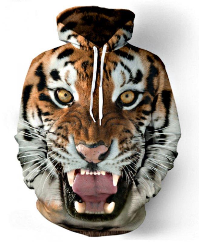 Спортивные толстовки для мужчин-(Забавные 3D Тигр, Лев) с капюшоном.