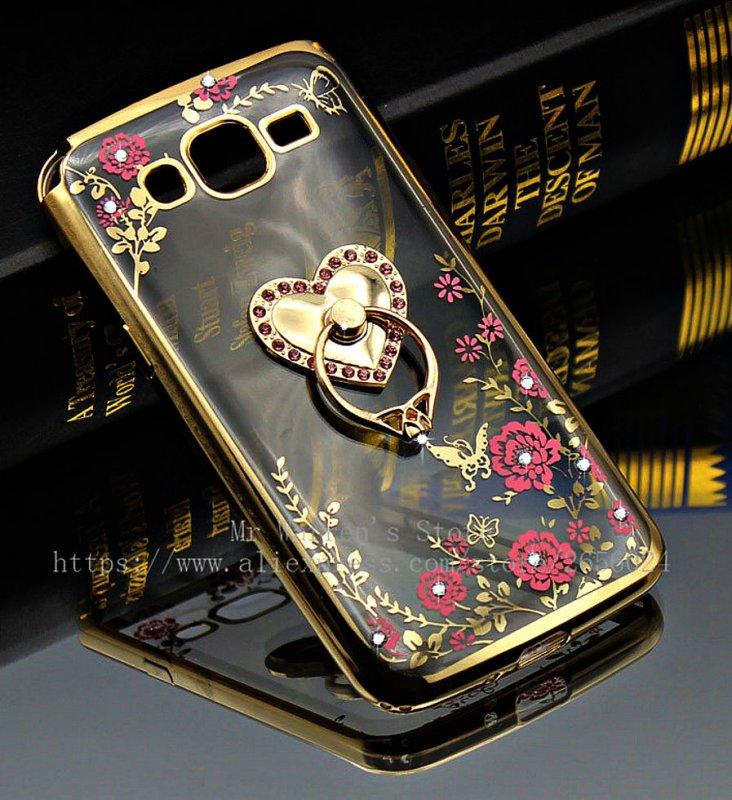 Чехол для Samsung Galaxy Гранд 2 Duos G7102 G7106 G7108 Кристалл Алмаза Блеск ТПУ Мягкая Подставка Кольцо Держатель