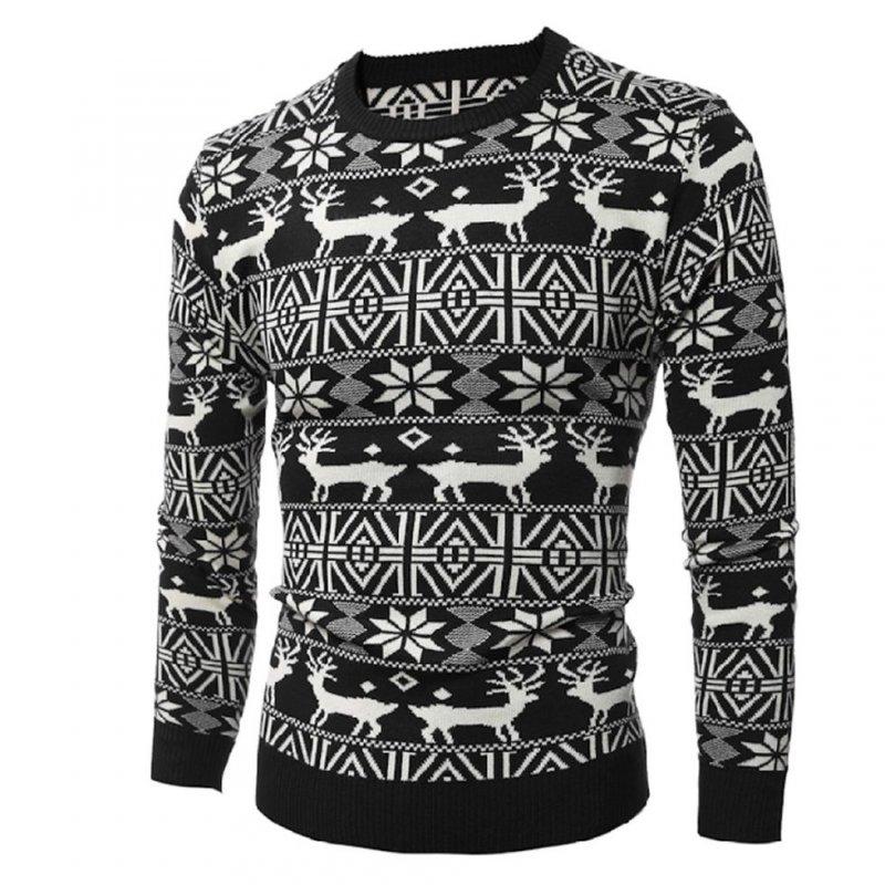 Зимний вязаный свитер для мужчин и женщин с принтом оленя с длинным рукавом