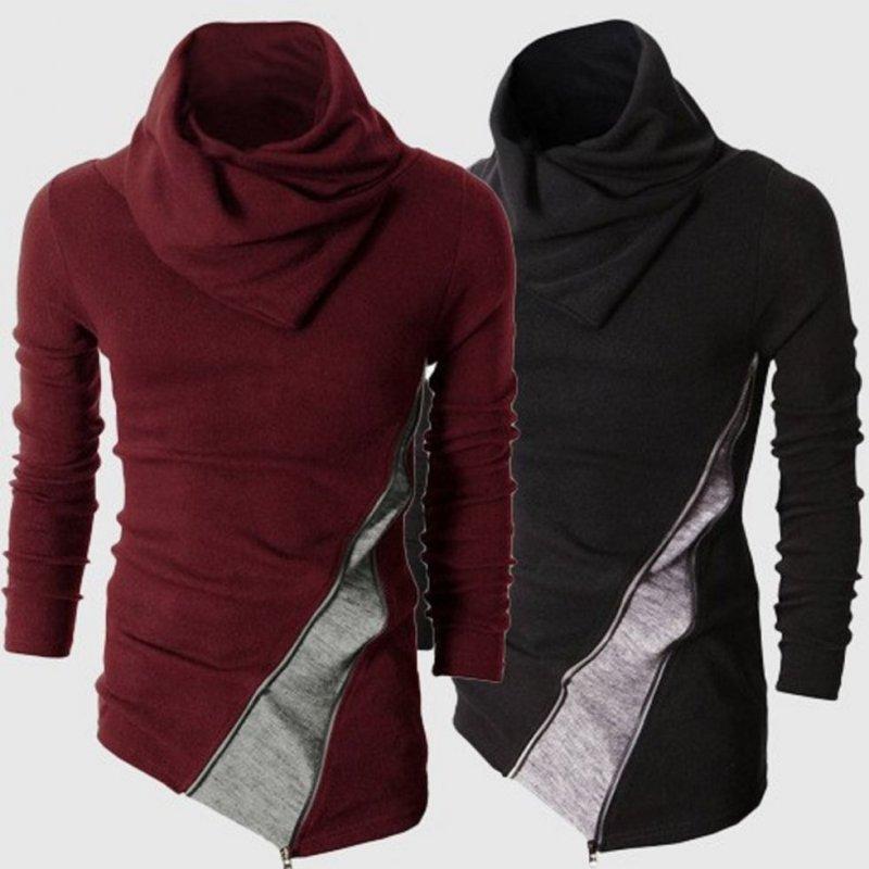 Модный вязаный свитер мужской с длинным рукавом.