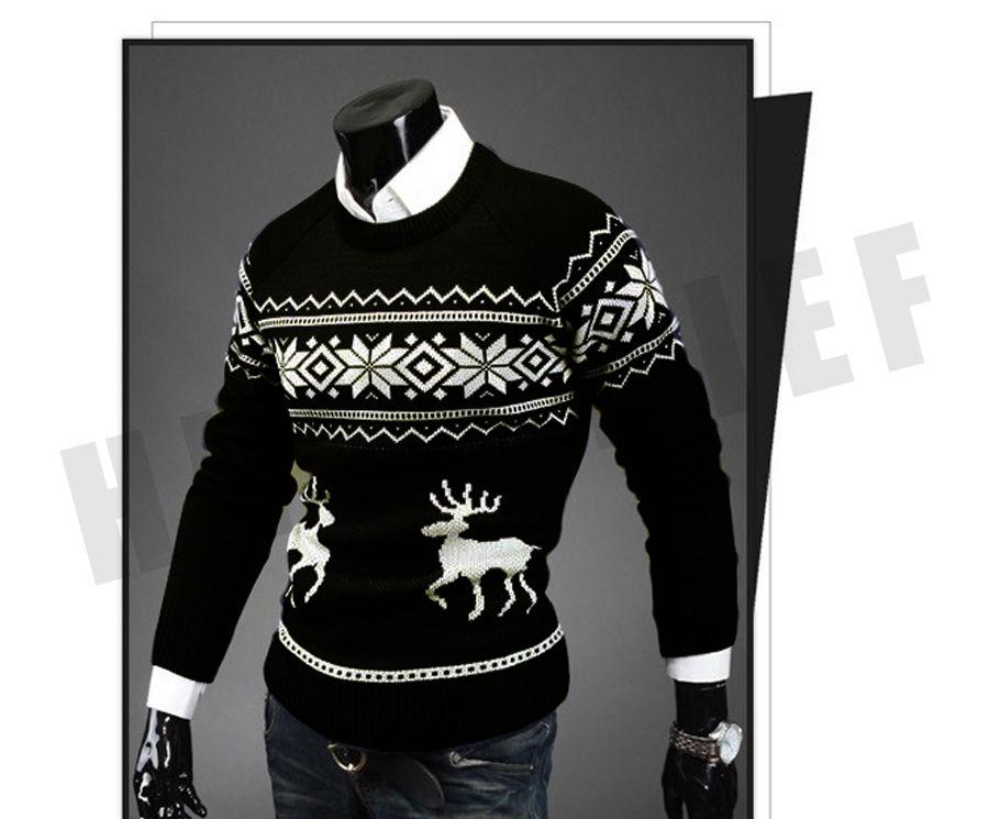 Модный рождественский вязаный свитер для мужчин.