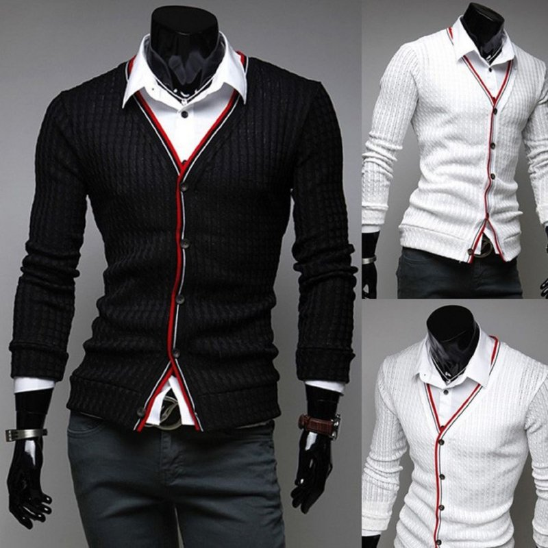 Мужской вязанный. шерстяной кардиган свободного покроя с разрезом-(Бизнес одежда)