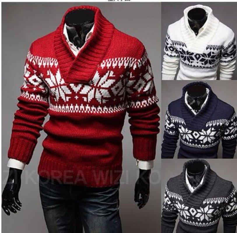 Мужской вязаный свитер с узором.
