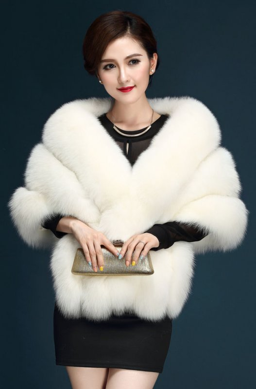 Женская роскошная шаль из искусственного меха норки и лисьего воротника.