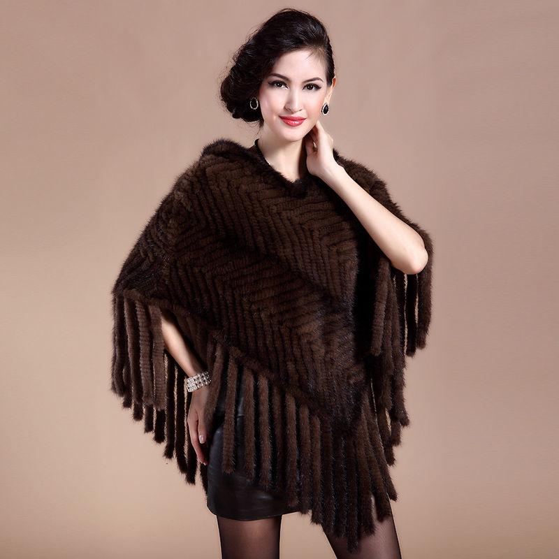 Женская роскошная шаль изнатурального меха норкис капюшоном.