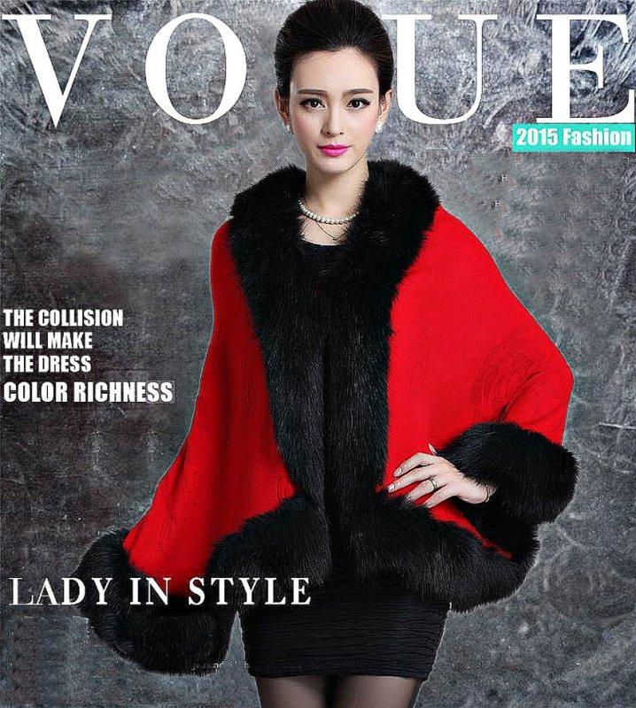 Модный, зимний, женский жилет-воротник с лисьего меха-(Британский стиль)