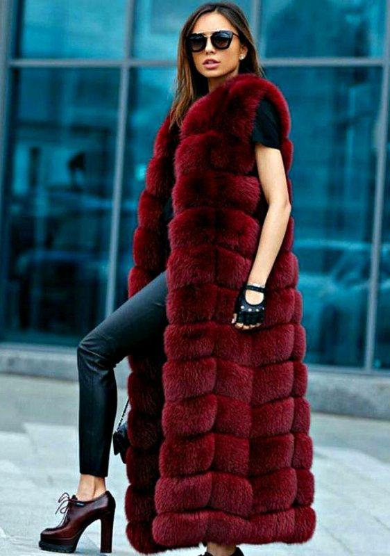 Роскошный жилет для женщин из искусственного лисьего меха-(Британский стиль).