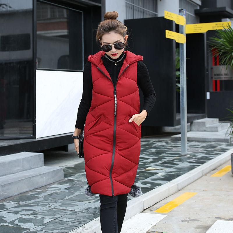 Хлопковая, теплая женская длинная куртка-жилет с капюшоном