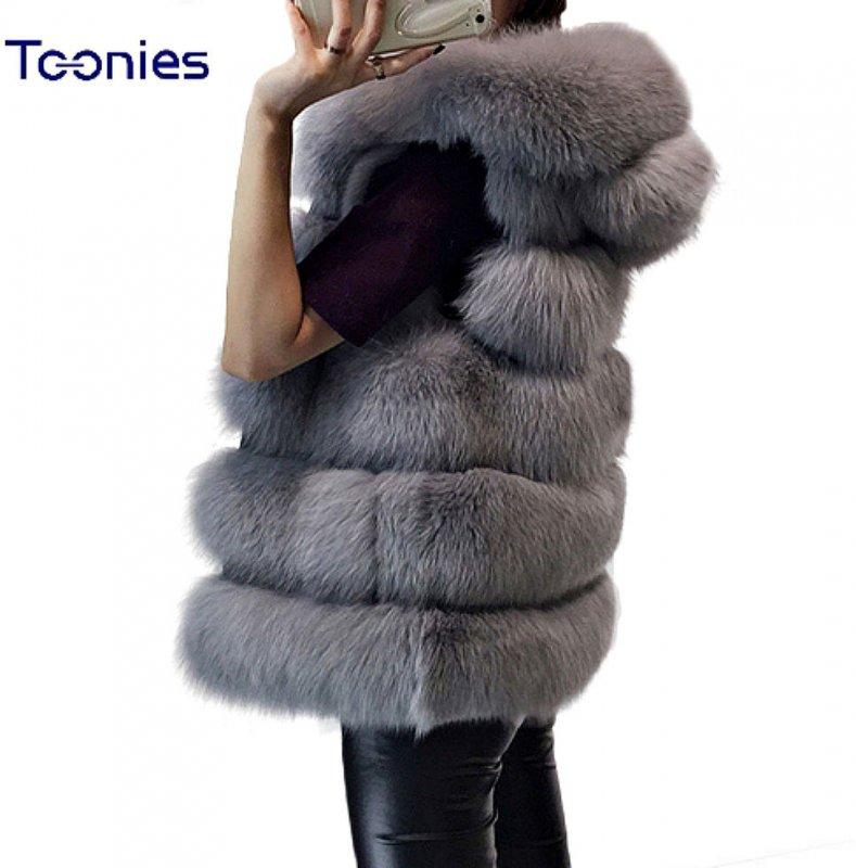 Жилет эксклюзивный, роскошный  для женщинс капюшоном из искусственного лисьего меха-(Британский стиль).