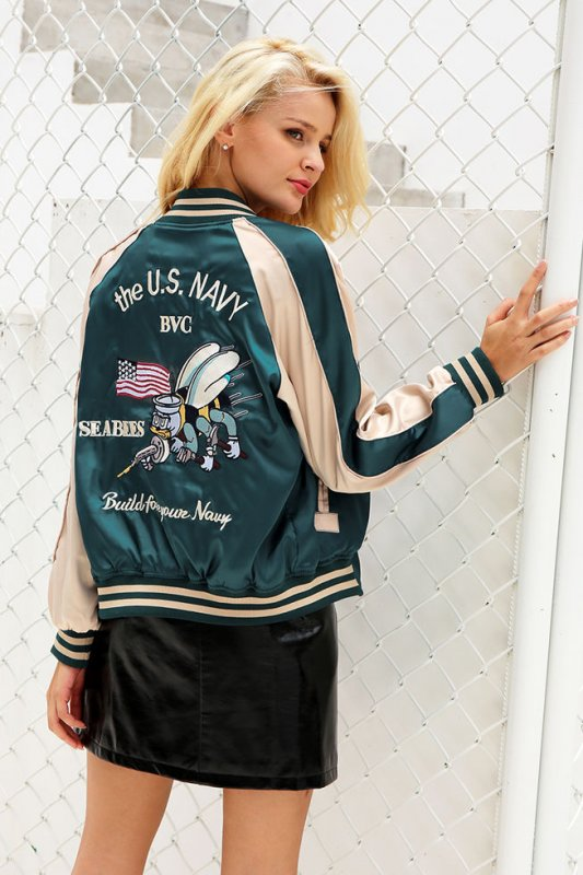 Атласная двухсторонняя куртка для женщин.