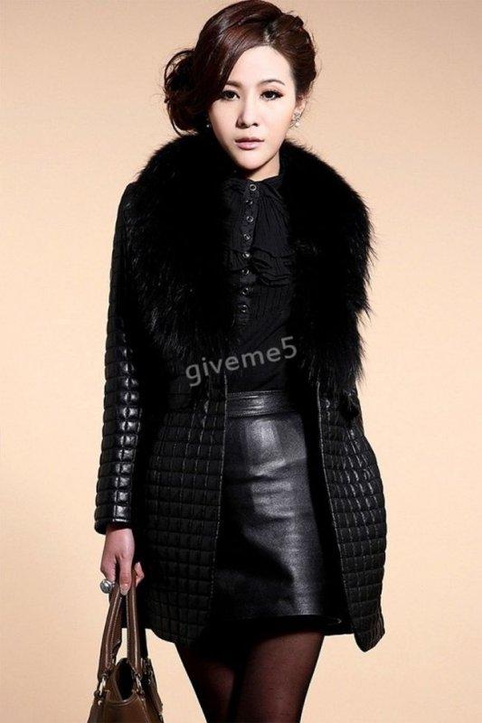 Брендовые кожаные теплые куртки с меховым воротником