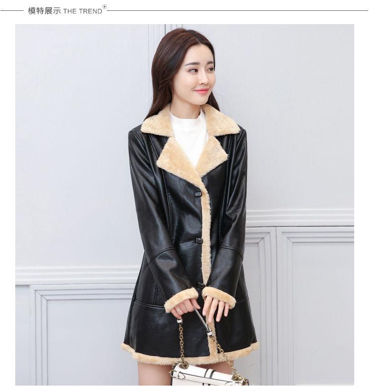Женское пальто с искусственного меха животных-(воротник ручной работы)