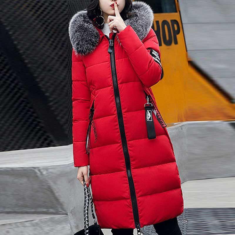 Зимняя. элегантная, теплая, длинная парка с капюшоном и меховой воротником для женщин.