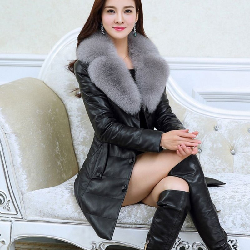 Кожаная, зимняя, теплая куртка с воротником для женщин (ПОД БРИТАНСКИЙ СТИЛЬ)