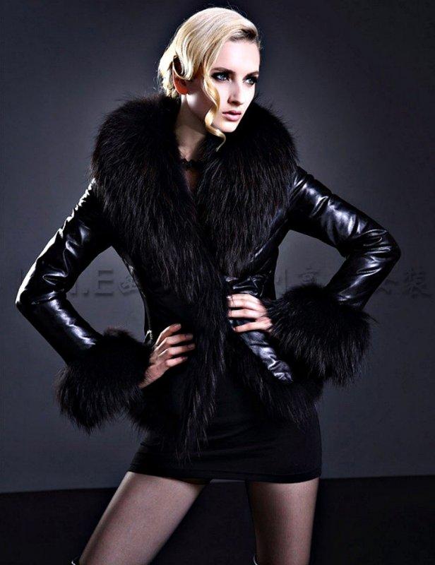 Кожаные теплые куртки с овчины для женщин (большой мех).