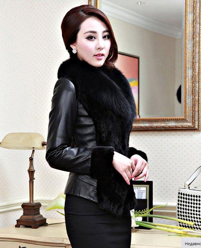 Кожаные теплые куртки, с воротником енота