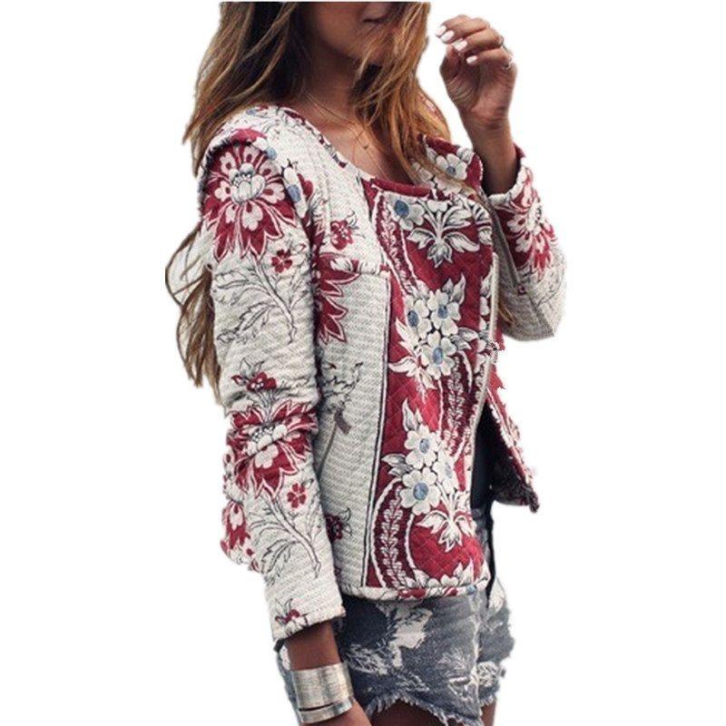 Многоцветная элегантная куртка для женщин с цветочным принтом.