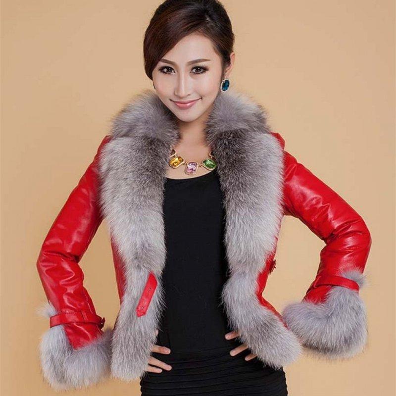 Теплая, мягкая, зимняя кожаная куртка для женщин с воротником из искусственного лисьего меха.