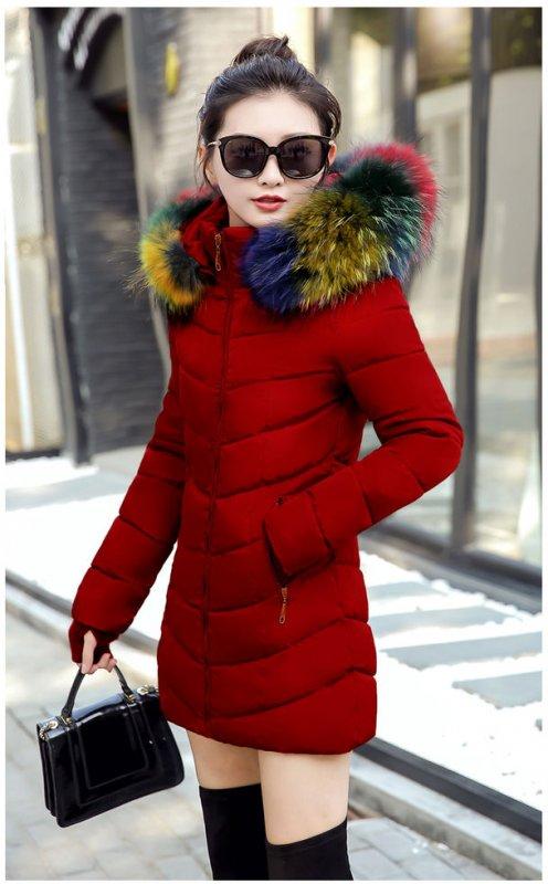 Теплое зимнее женское модное, одноцветное хлопковое пальто.